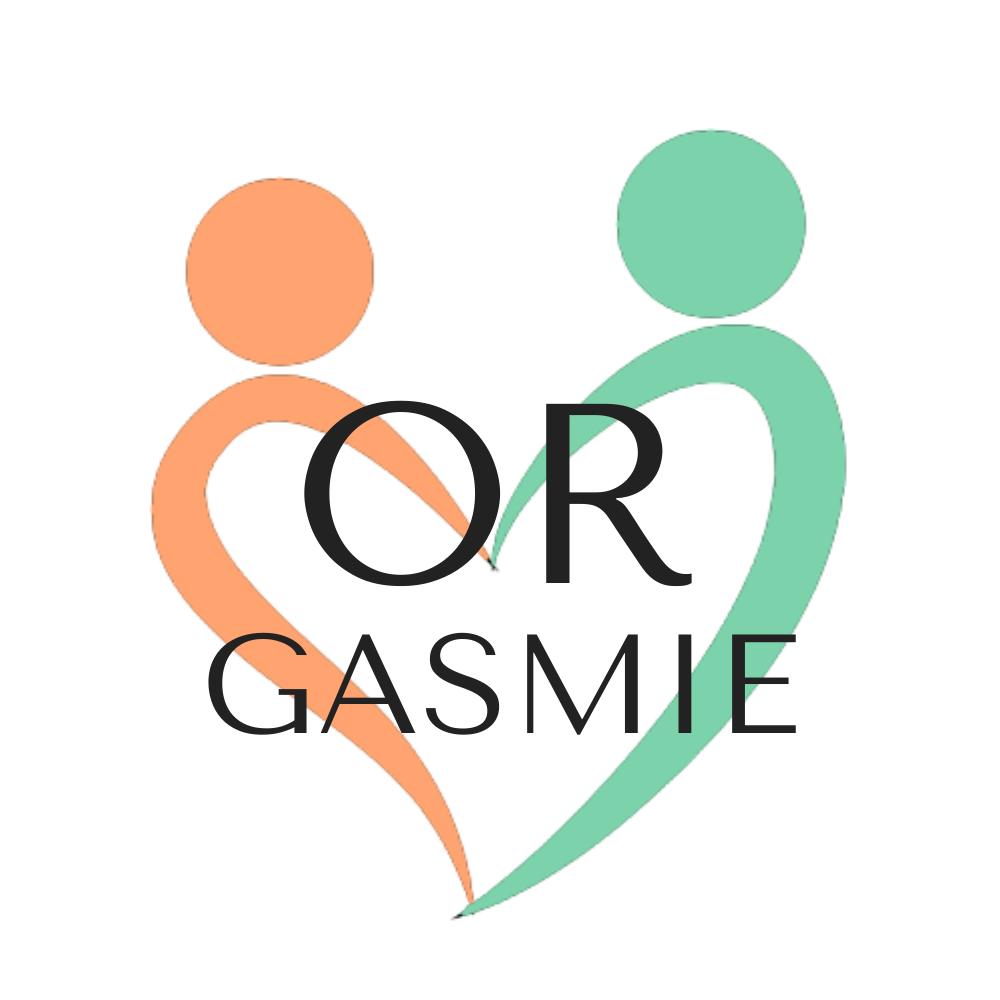 aventures en orgasmie, au bonheur des couples, sexualité, épanouissement sexuel, logo vert et orange