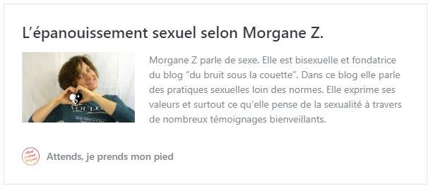 attends je prends mon pied, interview Morgane Z., blogueuse sexo, pseudo de Agathe créatrice du site Aventures en Orgasmie, sexualité féminine