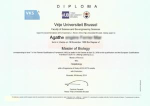 diplome de master biologie VUB Agathe